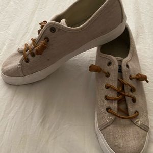 Sperry Beige canvas and leather sneakers. 9
